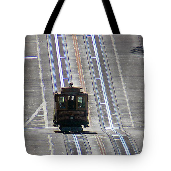 Cable Car On Nob Hill California Street Line Tote Bag by Wernher Krutein