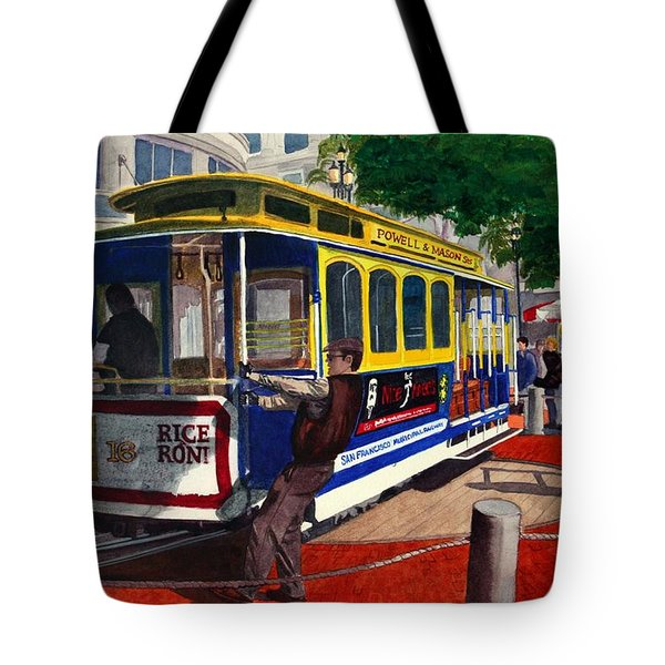 Cable Car Turntable At Powell And Market Sts. Tote Bag by Mike Robles