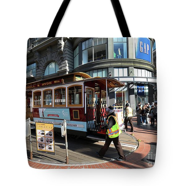 Tote Bag featuring the photograph Cable Car Union Square Stop by Steven Spak