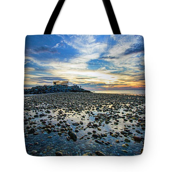 Cable Crossing Orient Point Sunset Tote Bag