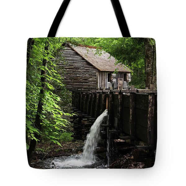 Tote Bag featuring the photograph Cable Grist Mill by Andrea Silies