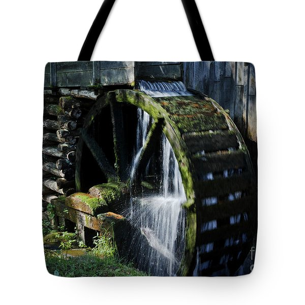 Tote Bag featuring the photograph Cable Mill Water Wheel by Douglas Stucky