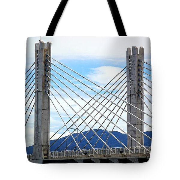 Tote Bag featuring the photograph Cable Stayed Bridge With Two Pylons by Yali Shi
