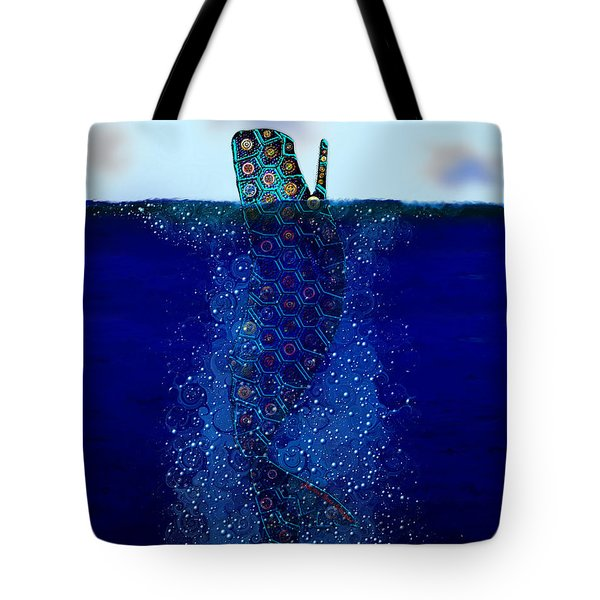 Tote Bag featuring the digital art Cachalot Dreadnought And The Airship by Iowan Stone-Flowers