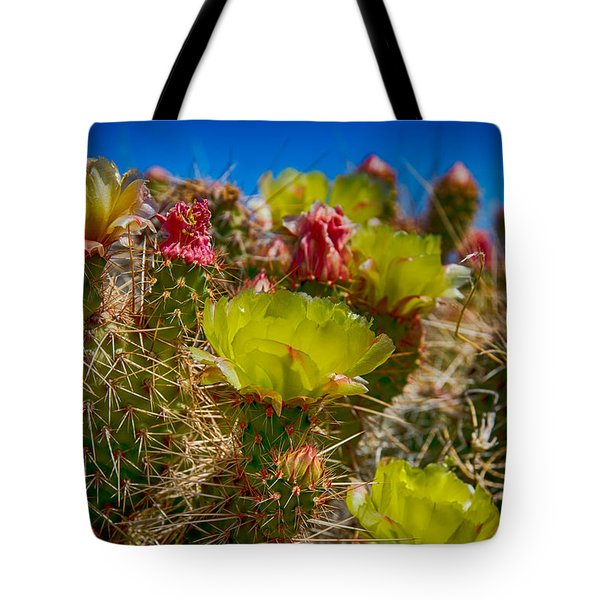 Cactus At The End Of The Road Tote Bag by Bartz Johnson