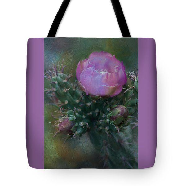 Cactus Bloom Tote Bag by Carolyn Dalessandro