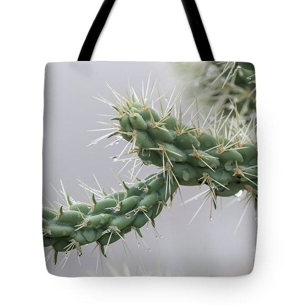 Cactus Branch With Wet White Long Needles Tote Bag