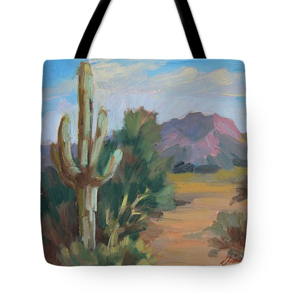 Tote Bag featuring the painting Cactus By The Red Mountains by Diane McClary