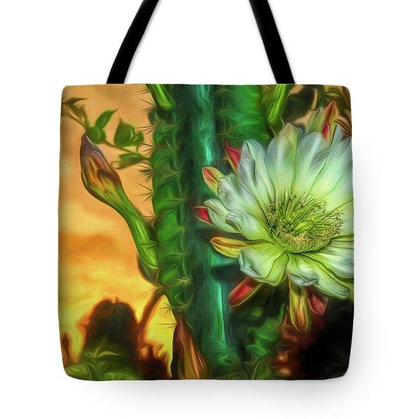 Cactus Flower At Sunrise Tote Bag