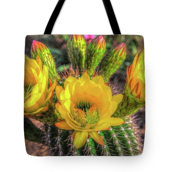 Cactus Flower Tote Bag by Mark Dunton