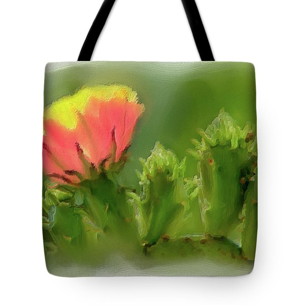 Tote Bag featuring the painting Cactus Flower On A Cactus Plant Ap by Dan Carmichael