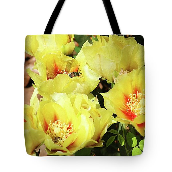 Tote Bag featuring the photograph Cactus Flowers And Friend by Sheila Brown