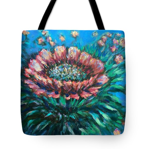 Tote Bag featuring the painting Cactus Flowers by Laila Awad Jamaleldin