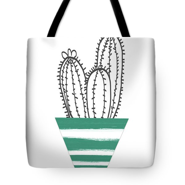 Tote Bag featuring the mixed media Cactus In A Green Pot- Art By Linda Woods by Linda Woods