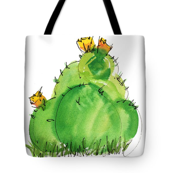 Cactus In The Yellow Flower Watercolor Painting By Kmcelwaine Tote Bag