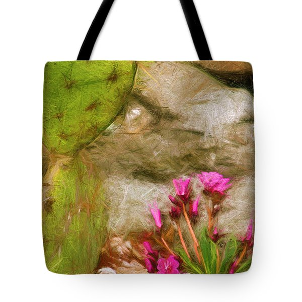 Tote Bag featuring the digital art Cactus Lines by Terry Cork