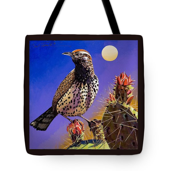 Tote Bag featuring the painting Cactus Wren by Bob Coonts