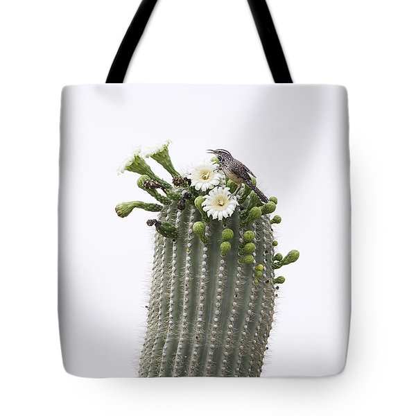 Tote Bag featuring the photograph Cactus Wren On Saguaro by Anne Rodkin