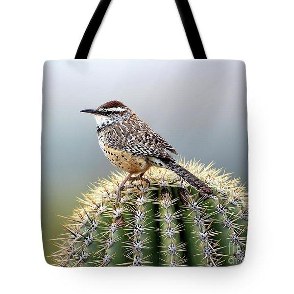 Cactus Wren On Saguaro Tote Bag