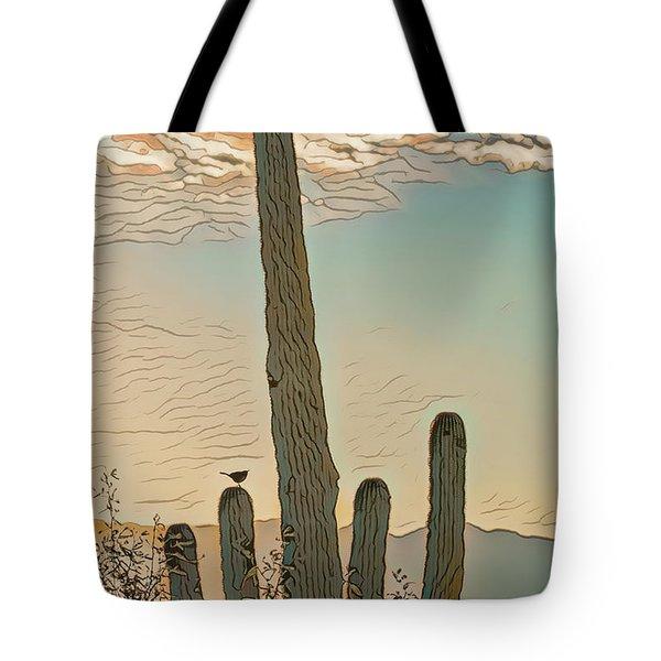 Tote Bag featuring the photograph Cactus Wren Serenade by Dan McManus
