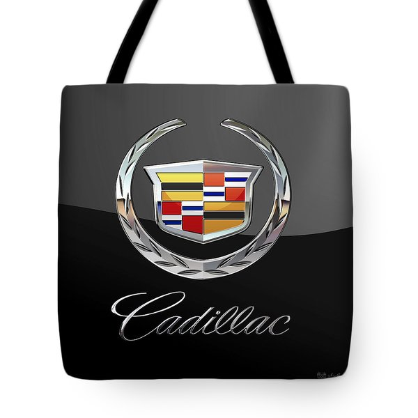 Cadillac - 3 D Badge On Black Tote Bag