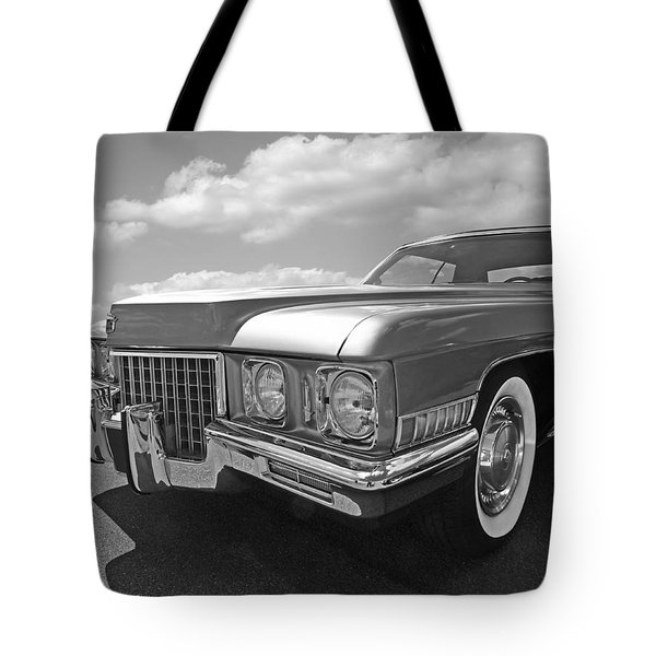 Cadillac Coupe De Ville 1971 In Black And White Tote Bag