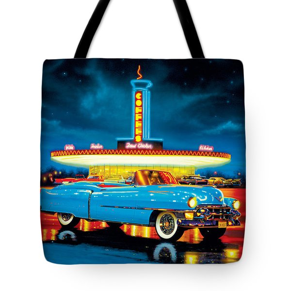 Cadillac Diner Tote Bag by MGL Studio - Chris Hiett