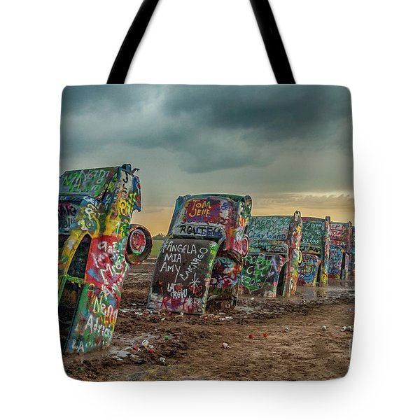 Cadillac Ranch Before The Rain Tote Bag