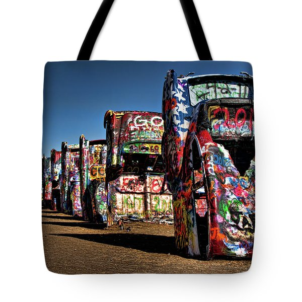 Cadillac Ranch Tote Bag by Lana Trussell