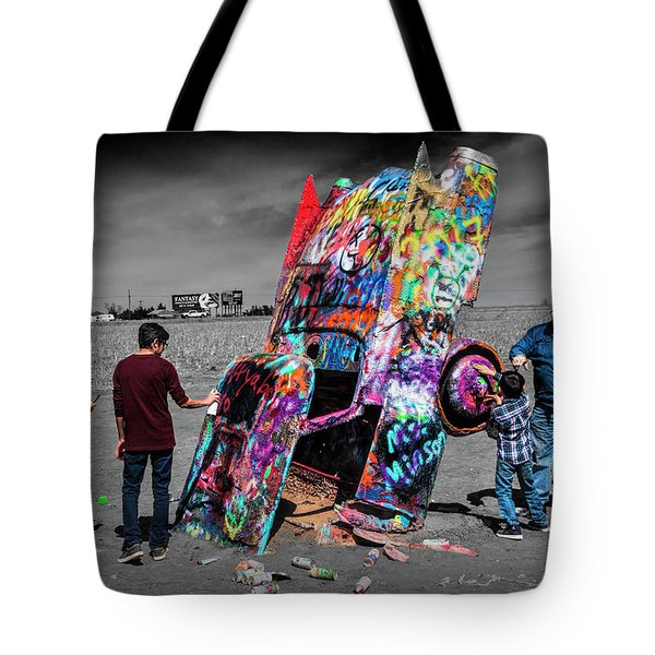 Tote Bag featuring the photograph Cadillac Ranch Spray Paint Fun Along Historic Route 66 By Amarillo Texas by Randall Nyhof