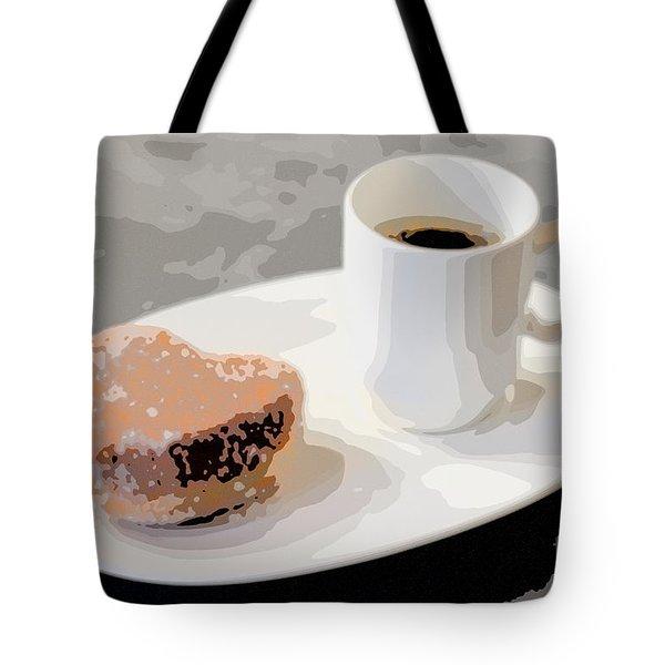 Cafe Americano And Heart Shaped Doughnut Tote Bag