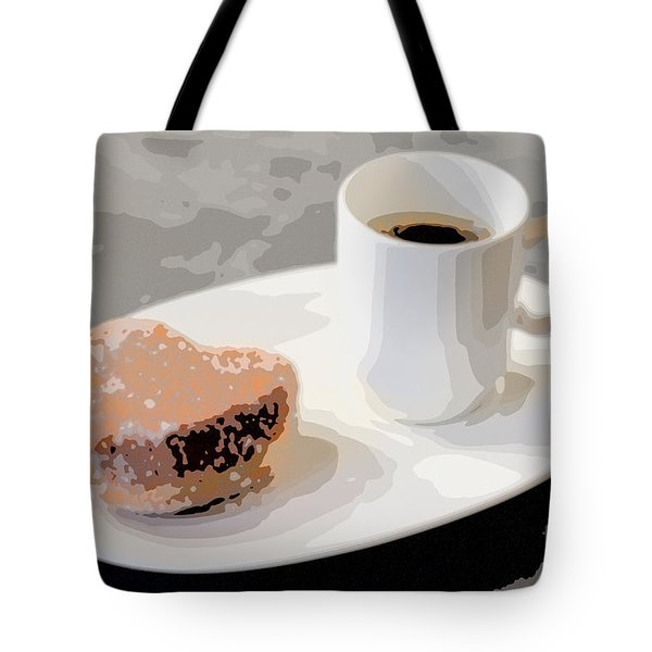 Cafe Americano And Heart Shaped Doughnut Tote Bag