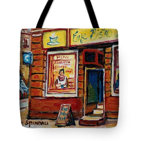 Cafe Bistro St. Viateur Tote Bag by Carole Spandau