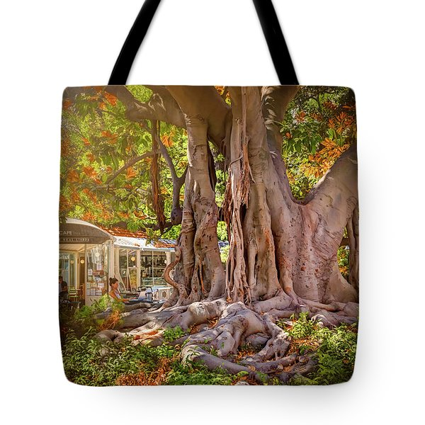 Cafe By The Grand Old Tree Lisbon Portugal Tote Bag