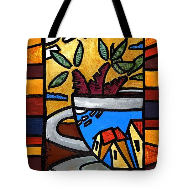 Tote Bag featuring the painting Cafe Caribe  by Oscar Ortiz