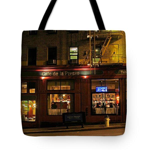 Cafe De La Presse On Bush St Tote Bag