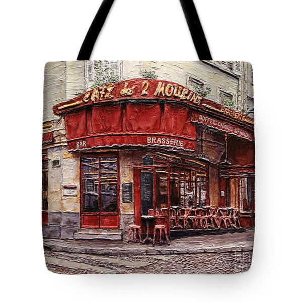 Cafe Des 2 Moulins- Paris Tote Bag by Joey Agbayani