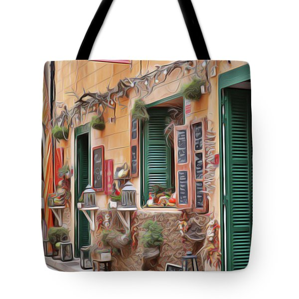 Tote Bag featuring the painting Cafe by Harry Warrick