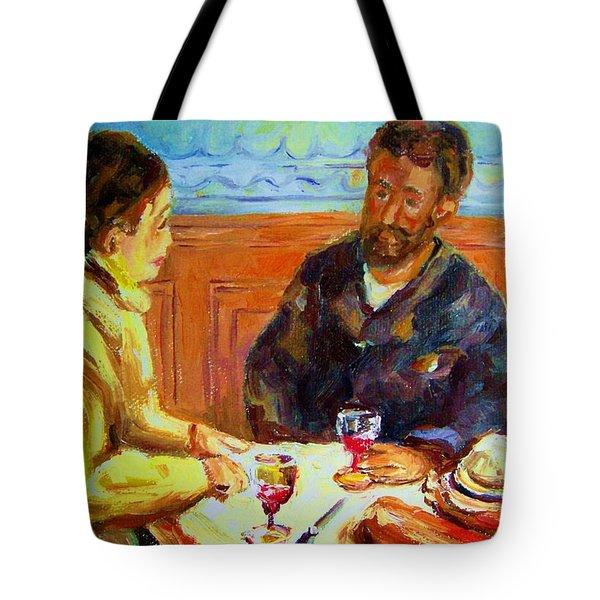 Cafe  Homage  De Pierre Auguste Tote Bag by Carole Spandau