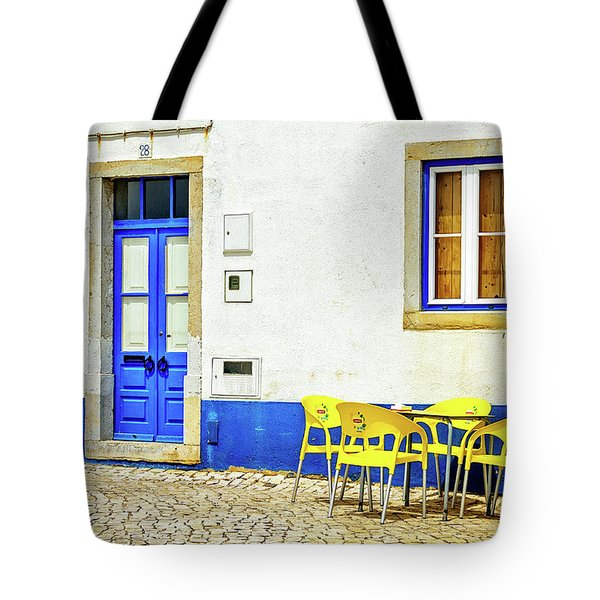 Tote Bag featuring the photograph Cafe In Portugal by Marion McCristall