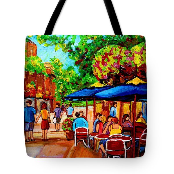 Cafe On Prince Arthur  In Montreal  Tote Bag by Carole Spandau