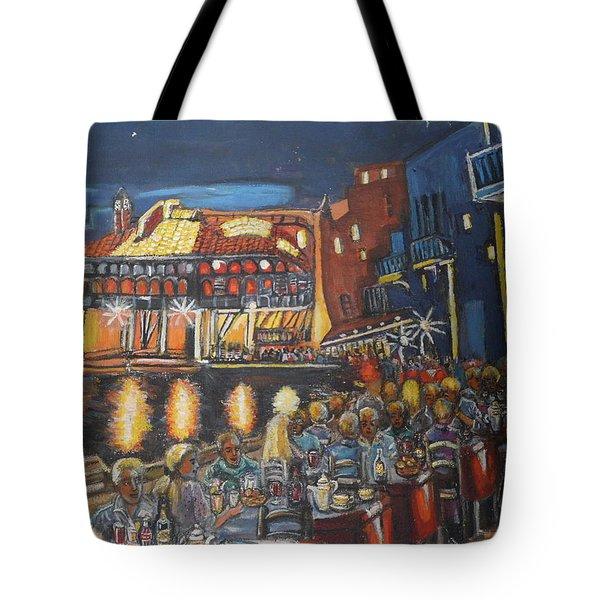 Cafe Scene At Night Tote Bag
