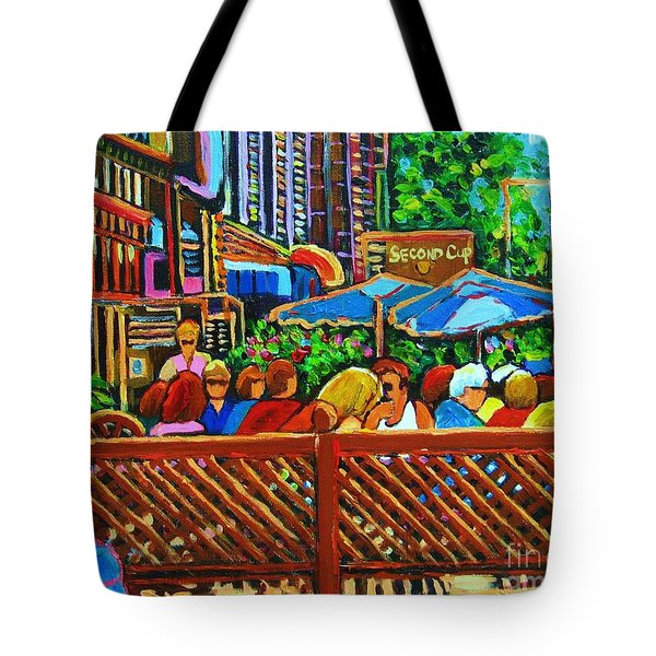 Cafe Second Cup Tote Bag by Carole Spandau