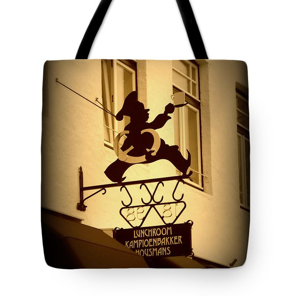 Cafe Sign In Holland Tote Bag by Carol Groenen