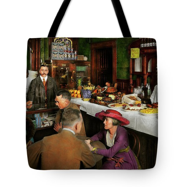 Cafe - Temptations 1915 Tote Bag by Mike Savad