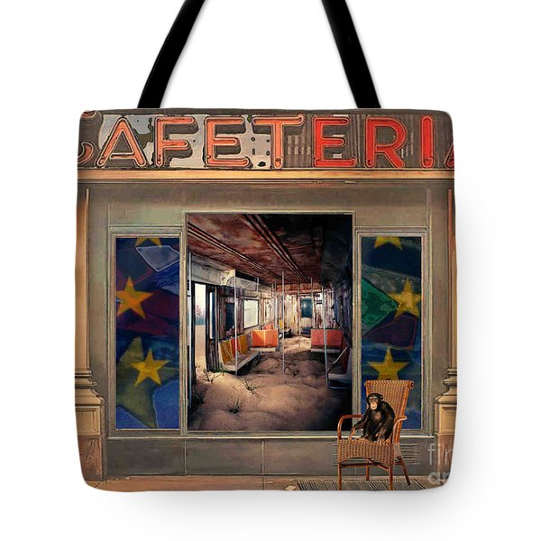 Tote Bag featuring the painting Cafeteria by Mojo Mendiola