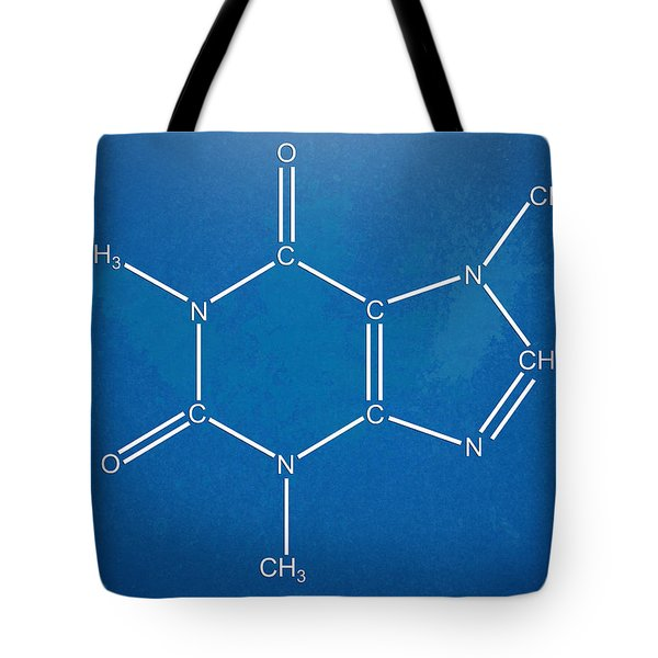 Caffeine Molecular Structure Blueprint Tote Bag by Nikki Marie Smith