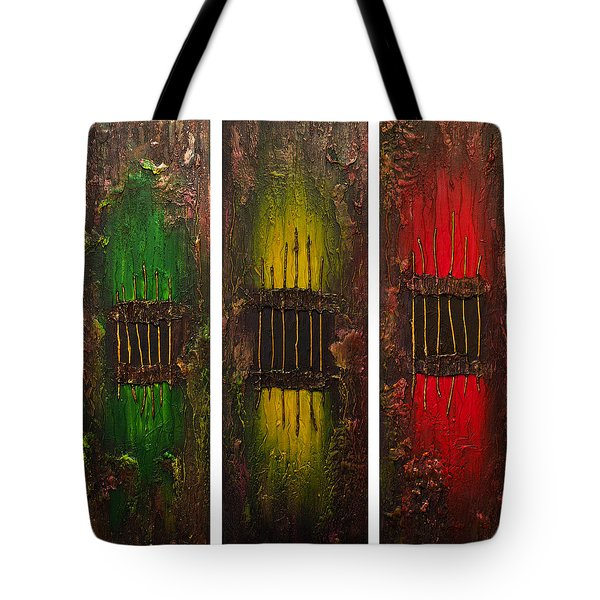 Tote Bag featuring the painting Caged 2 by Patricia Lintner