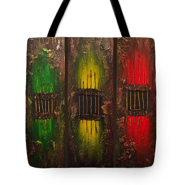 Tote Bag featuring the painting Caged Abstract by Patricia Lintner