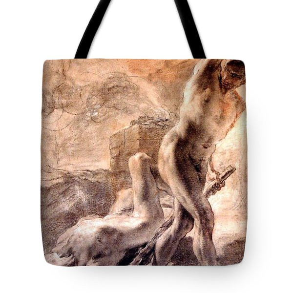 Tote Bag featuring the painting Cain And Abel by Pg Reproductions